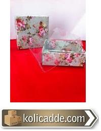 Şeffaf Kapaklı Çiçekli Karton Kutu 9x9x3 cm-KoliCadde