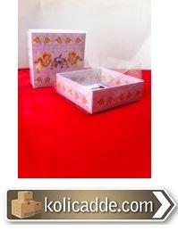 Şeffaf Asetat Kutu Altı Bebekli Karton 9x9x3 cm-KoliCadde