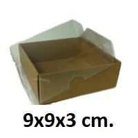 Kraft Kutu Şeffaf Kapaklı 9x9x3 cm-KoliCadde