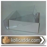 Asetat Kapaklı Beyaz Kutu 8x8x2 cm.