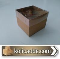Asetat Kapaklı Kraft Karton Kutu 8x8x6,5 cm
