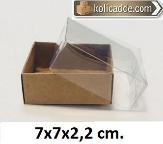 Alt Kraft Karton Kutu Üst Asetat 7x7x2,2 cm-KoliCadde