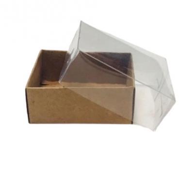 Asetat Kapaklı Kraft Kutu 7x7x2,2 cm.-KoliCadde