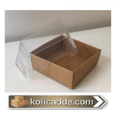 Şeffaf Kapaklı Kraft Kutu 5x5x2,2 cm.-KoliCadde