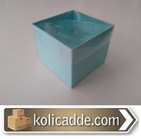 Asetat Kapaklı Mavi Karton Kutu 8x8x6,5 cm