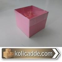 Asetat Kapaklı Pembe Karton Kutu 8x8x6,5 cm