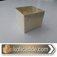 Asetat Kapaklı Krem Karton Kutu 8x8x6,5 cm