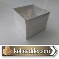 Asetat Kapaklı Karton Kutu 8x8x6,5 cm Beyaz
