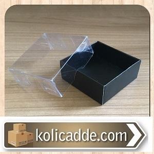 Asetat Kapaklı Siyah Karton Kutu 5x5x2,2 cm.-KoliCadde