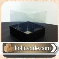 Asetat Kapaklı Siyah Karton Kutu 8x8x8 cm