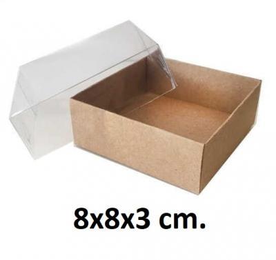 8x8x3 cm. Kraft Kutu Asetat Kapaklı-KoliCadde