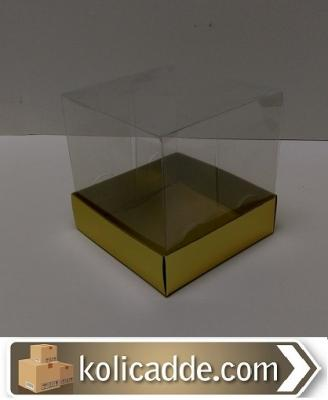 Gold Karton Kutu Asetat Kapaklı 10x10x10 cm-KoliCadde