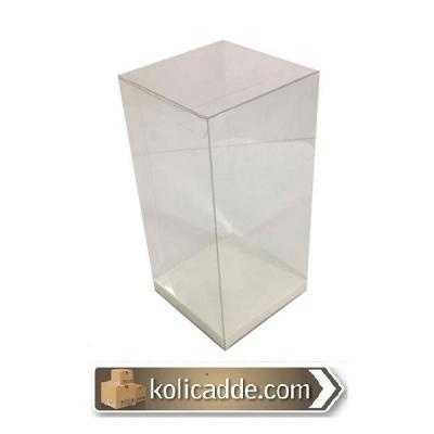 Altı Beyaz İç Yükseltici Karton Üstü Asetat Kutu 10x10x16 cm-KoliCadde