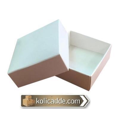 Komple Karton Beyaz Kapaklı Kutu 5x5x2,2-KoliCadde