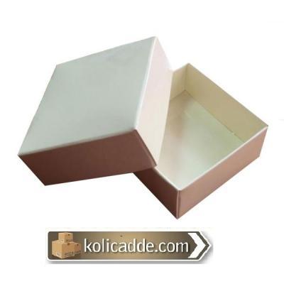 Komple Karton Krem Kapaklı Kutu 5x5x2,2-KoliCadde