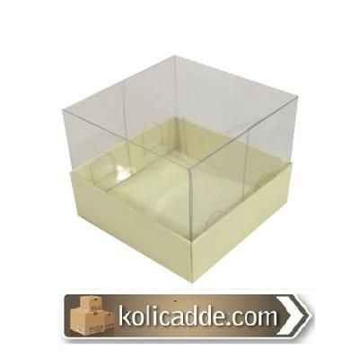Alt Krem Karton Üst Asetat Kapak Kutu 7x7x5-KoliCadde