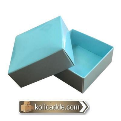 Komple Karton Mavi Kapaklı Kutu 5x5x2,2-KoliCadde