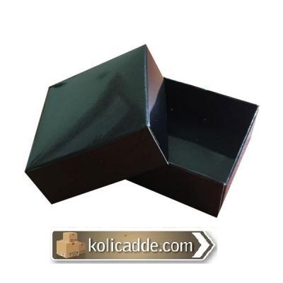 Komple Karton Siyah Kapaklı Kutu 5x5x2,2-KoliCadde