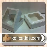 Asetat Pencereli Beyaz Kutu 9x9x3 cm-KoliCadde