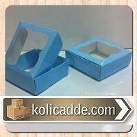 Asetat Pencereli Mavi Karton Kutu 8x8x3 cm