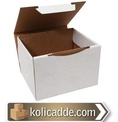 Beyaz Kapaklı Kutu 12,5x11x8 cm-KoliCadde