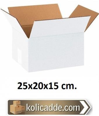 Tek Oluklu Beyaz Karton Koli 25x20x15 cm.-KoliCadde