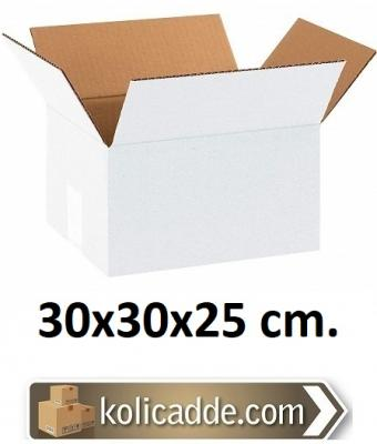Çift Oluklu Beyaz Koli 30x30x25 cm.