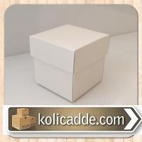 Beyaz Kapaklı Karton Kutu 8x8x6,5 cm.