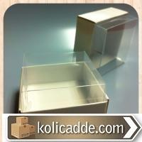 Asetat Kapaklı Beyaz Karton Kutu 8x8x3 cm.-KoliCadde