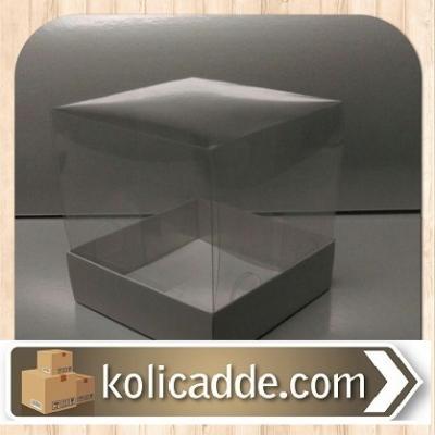 Beyaz Karton Kutu Asetat Kapak 10x10x16 cm.-KoliCadde