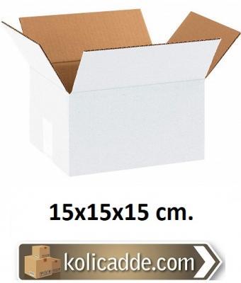 Tek Oluklu Beyaz Karton Kutu 15x15x15 cm.-KoliCadde