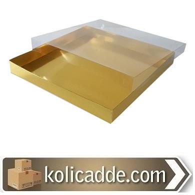 Asetat Kapaklı Gold Kutu 35x35x4 cm.-KoliCadde
