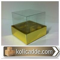 Asetat Kapaklı Gold Rengi Karton Kutu 10x10x12 cm-KoliCadde