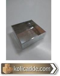 Asetat Kutu Gümüş Rengi 8x8x3 cm-KoliCadde