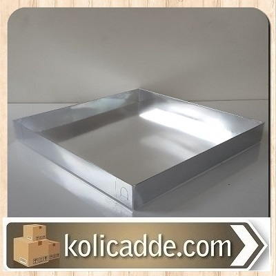 Asetat Kapaklı Gümüş Kutu 35x35x4 cm.-KoliCadde