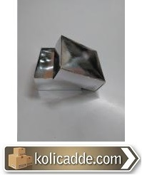 Gümüş Renkli Kapaklı Kutu 8x8x3,5 cm