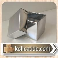 Gümüş Renkli Üstten Kapaklı Kutu 6x6x6 cm.-KoliCadde
