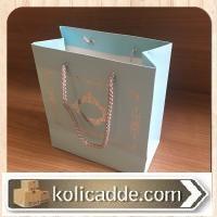 Desenli İpli Mavi Karton Çanta 15,5x17x8 cm-KoliCadde