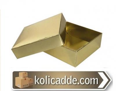 Kapaklı Gold Karton Kutu 7x7x2.2 cm-KoliCadde