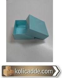 Mavi Karton Kutu Üstten Kapaklı 8x8x3,5 cm