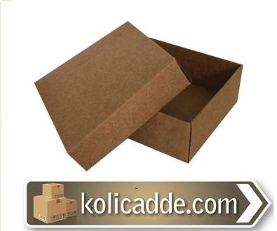 Kapaklı Kraft Karton Kutu 7x7x2.2 cm-KoliCadde