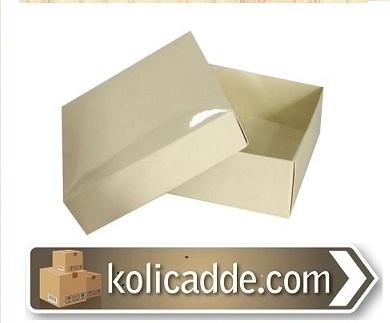 Kapaklı Krem Karton Kutu 8x8x3 cm-KoliCadde