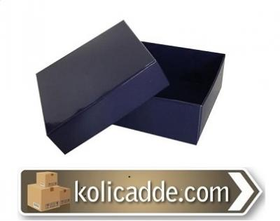 Kapaklı Lacivert Karton Kutu 8x8x3 cm-KoliCadde