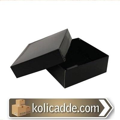 Kapaklı Siyah Karton Kutu 8x8x3 cm-KoliCadde