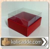 Kırmızı Kutu Asetat Kapaklı 5x5x3 cm.-KoliCadde