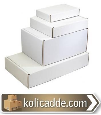 Kilitli Beyaz Karton Kutu 32x22x12 cm.-KoliCadde