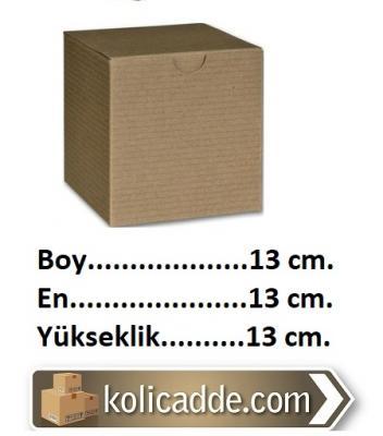 Kilitli Kare Karton Kutu 13x13x13 cm