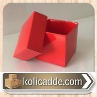 Kırmızı Kapaklı Karton Kutu 6x6x6 cm.