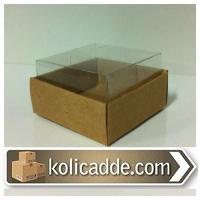 Asetat Kapaklı Kraft Kutu 6x6x2,5 cm-KoliCadde