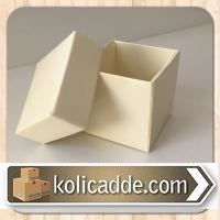 Krem Rengi Kapaklı Karton Kutu 6x6x6 cm
